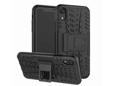 Удароустойчив Калъф гръб с поставка Hybrid за iPhone XR (6.1), Черен