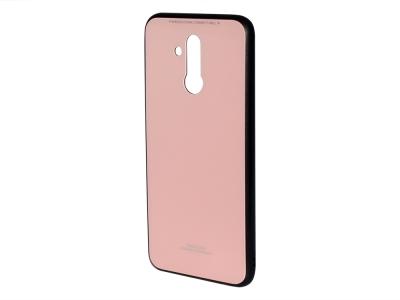 Стъклен гръб със силиконова лайстна Glass за Huawei Mate 20 Lite , Розов