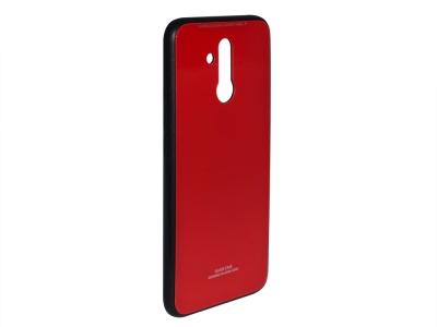 Стъклен гръб със силиконова лайстна Glass за Huawei Mate 20 Lite , Червен