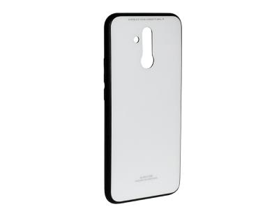 Стъклен гръб със силиконова лайстна Glass за Huawei Mate 20 Lite ,Бял