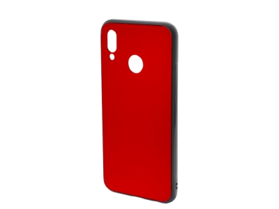 Стъклен гръб със силиконова лайстна Glass за Huawei P20 Lite, Червен