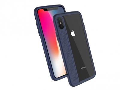 Твърд гръб HOCO със силиконова лайстна за iPhone X (5.8), Тъмно син