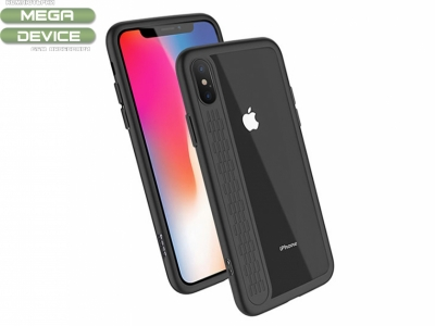 Пластмасов гръб HOCO със силиконова лайстна за iPhone X (5.8), Черен