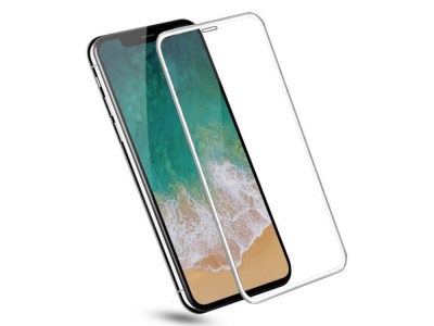 Стъклен протектор 5D Full Glue за Iphone XR  (6.1), Бял