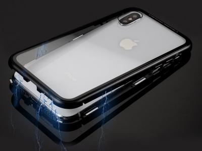 360 Алуминиев магнитен бъмпер за iPhone  XS MAX ( 6.5 ), Черен