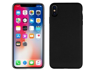 Силиконов гръб Carbon Fibre за iPhone XS Max (6.5), Черен
