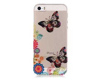 Силиконов Гръб -  iPhone SE/5s/5 - Butterfly and Flower