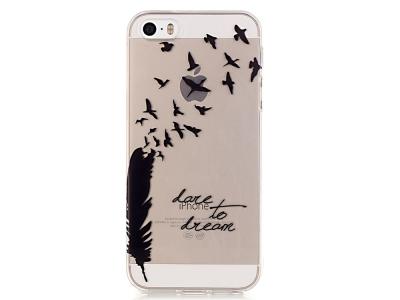 Силиконов Гръб за iPhone SE/5s/5, Перо и птици