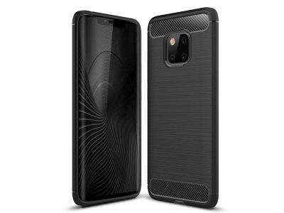 Силиконов гръб Carbon за Huawei Mate 20 Pro, Черен