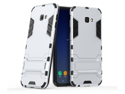 Удароустойчив Калъф с Поставка за Samsung Galaxy J4 Plus, Сребрист