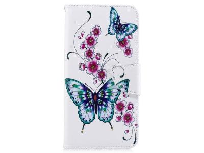 Калъф Тефтер за Samsung Galaxy  A7 (2018) A750, Цветя и пеперуди
