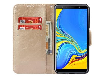 Калъф Тефтер за Samsung Galaxy  A7 (2018) A750, Златист