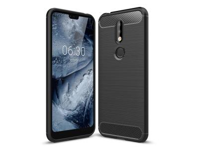 Силиконов гръб Carbon за Nokia 7.1, Черен