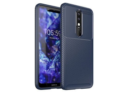 Силиконов гръб Beetle Carbon за Nokia 5.1 Plus/X5 , Тъмно син