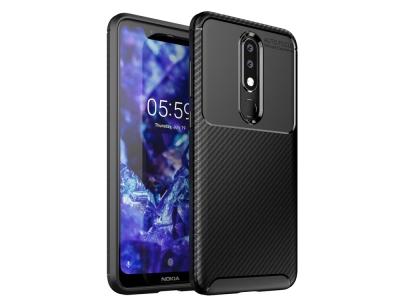 Силиконов гръб Beetle Carbon за Nokia 5.1 Plus/X5, Черен