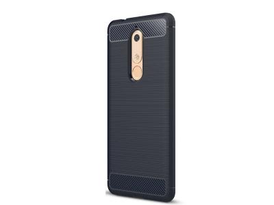 Силиконов гръб Carbon за Nokia 5.1, Тъмно син
