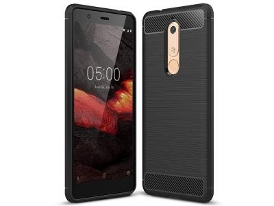 Силиконов гръб Carbon за Nokia 5.1, Черен