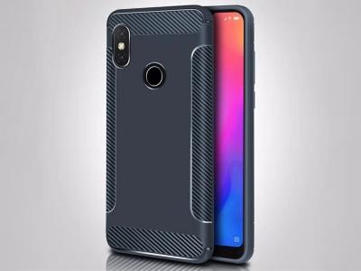Силиконов Гръб Carbon Matte за Xiaomi Redmi Note 6 Pro, Тъмно син