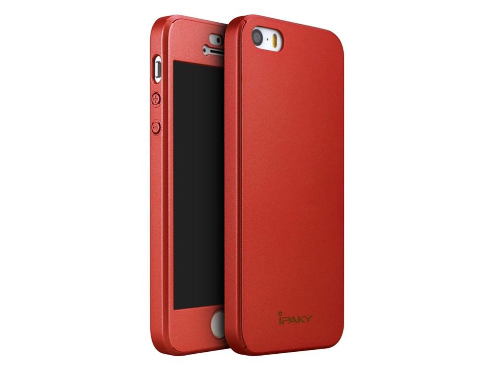 IPAKY 360 pvc  + стъклен протектор за iPhone SE/5s/5 , Червен