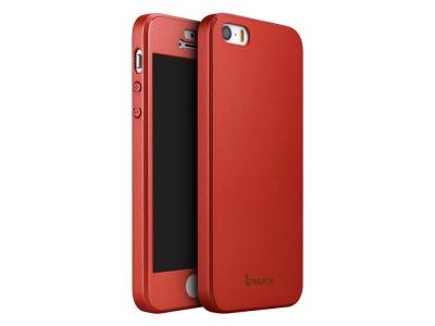 IPAKY 360 pvc  + стъклен протектор iPhone SE/5s/5 - Red