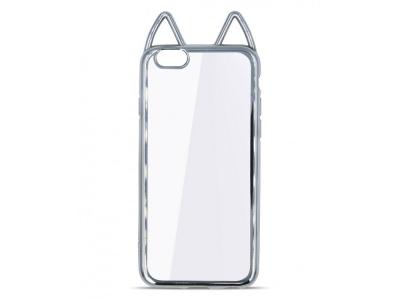 Силиконов Гръб с Ушички за iPhone 5/5S/SE, Сребрист