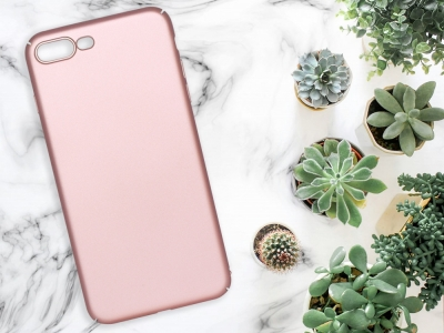 Пластмасов гръб за iPhone 7 Plus / iPhone 8 Plus, Розов/ Златист