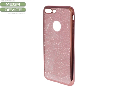 Силиконов Гръб с Брокат iPhone 7 Plus / 8 Plus , Розов/ Златист