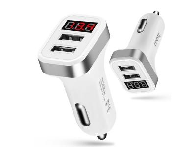 Зарядно 12v HOCO -2.1A 2x USB LCD WHITE Z3