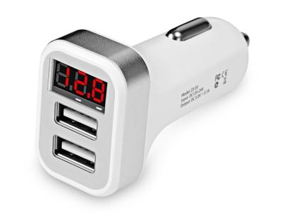 Зарядно за кола 12v HOCO Z3 -3.1A 2x USB LCD, Бял