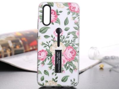 Силиконов гръб с Постовка за Huawei P20 Pro, Бял с Цветя