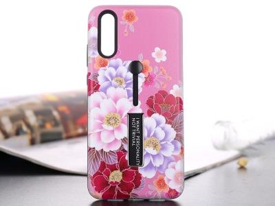 Силиконов гръб с Постовка за Huawei P20 Pro, Розов с Цветя