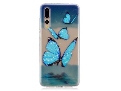Силиконов гръб за Huawei P20 Pro, Сини пеперуди