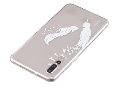 Силиконов гръб за Huawei P20 Pro , Бели пера