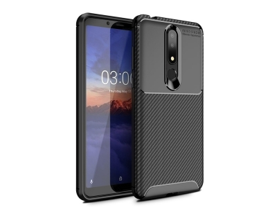 Силиконов гръб Beetle Carbon за Nokia 3.1 Plus, Черен