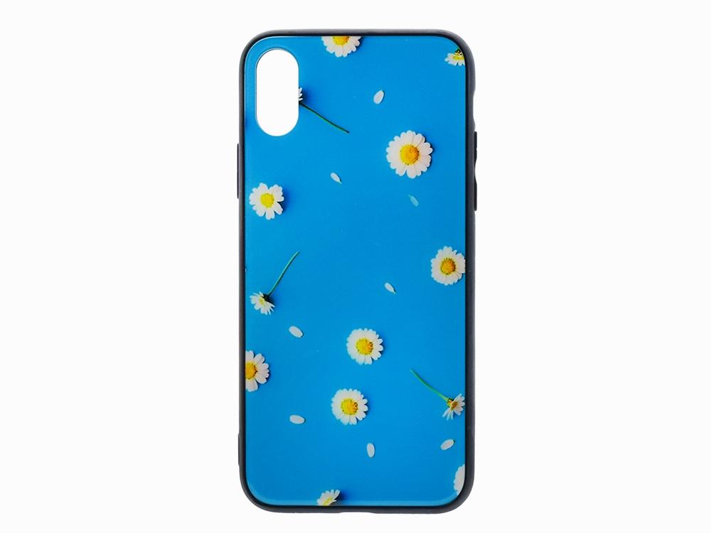 Калъф Гръб Glass за iPhone X / XS , Син на Цветя