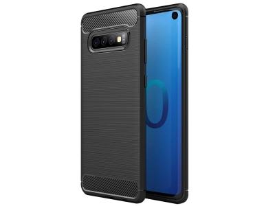 Силиконов гръб Carbon за Samsung Galaxy S10 , Черен