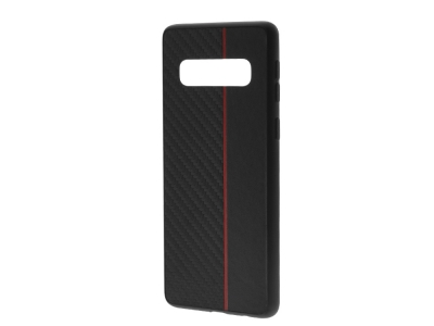Удароустойчив гръб Moto Carbon за Samsung Galaxy S10 (G973), Черен / Червен