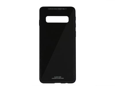 Стъклен гръб със силиконова лайстна Glass за Samsung Galaxy S10 (G973), Черен