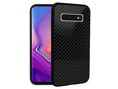 Стъклен гръб със силиконова лайстна Glass за Samsung Galaxy S10 Plus (G975), Черен