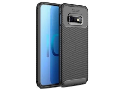 Силиконов гръб Carbon Fiber за Samsung Galaxy S10e, Черен