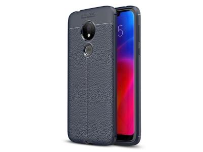 Силиконов гръб Carbon Litchi за Motorola Moto G7 Power , Тъмно син