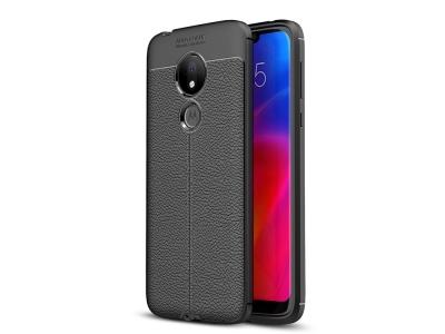 Силиконов гръб Carbon Litchi за Motorola Moto G7 Power, Черен