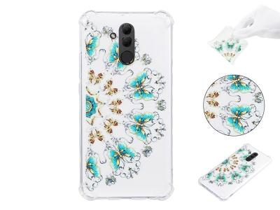 Силиконов Гръб Anti Drop за Huawei Mate 20 Lite, Златна и Синя пеперуда