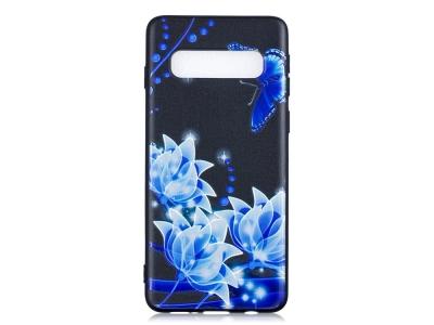 Силиконов Гръб за Samsung Galaxy S10, Синьо цвете