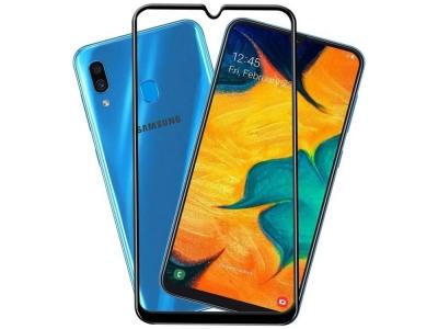 Стъклен Протектор Full Glue 5D за Samsung Galaxy A30 , Черен