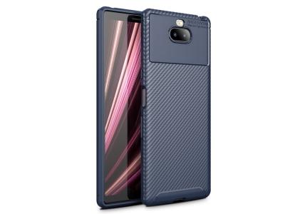 Силиконов гръб Carbon Fiber за Sony Xperia 10, Тъмно син