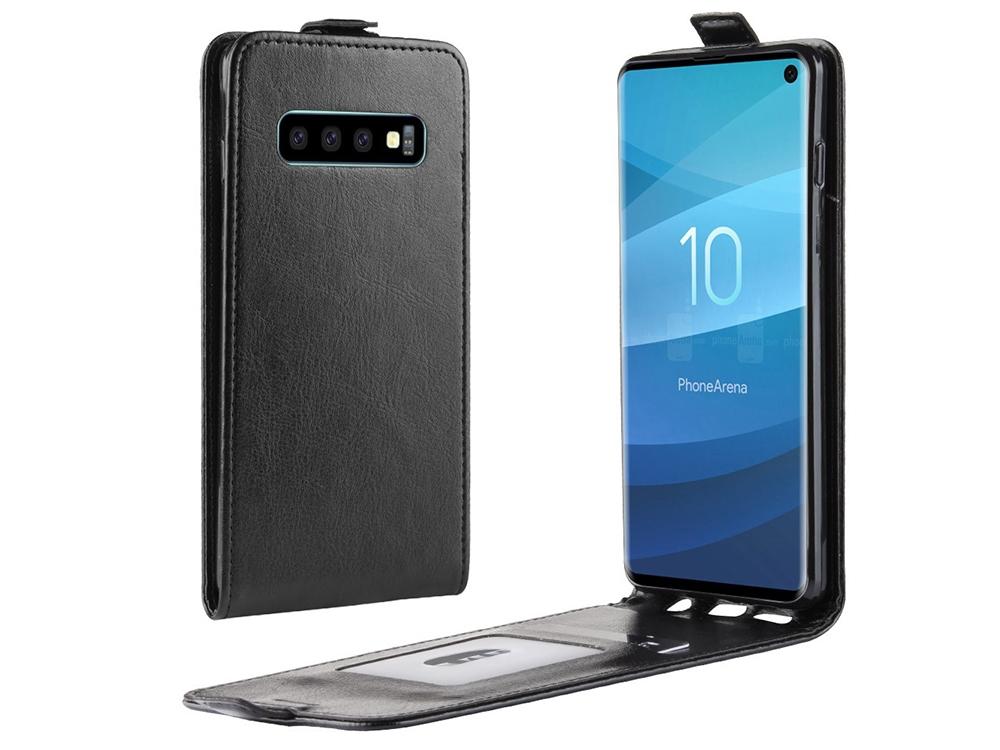 Калъф Тефтер Crazy Horse за Samsung Galaxy S10, Черен