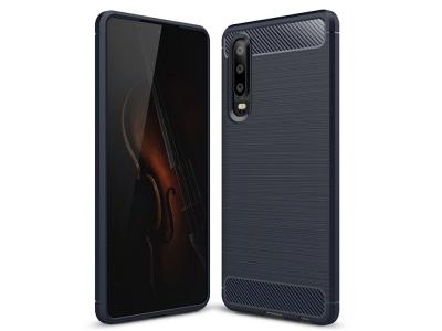 Силиконов гръб Carbon Fibre за Huawei P30, Тъмно син