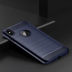 Силиконов гръб Carbon Fibre за iPhone XS Max, Тъмно син
