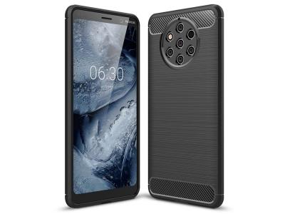Силиконов гръб Carbon Fibre за Nokia 9 PureView, Черен